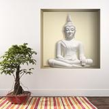 Stickers muraux: Bouddha blanc niche 5