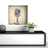 Stickers muraux: Rétro Microphone niche  5