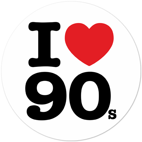 autocollant i love 90s. Black Bedroom Furniture Sets. Home Design Ideas