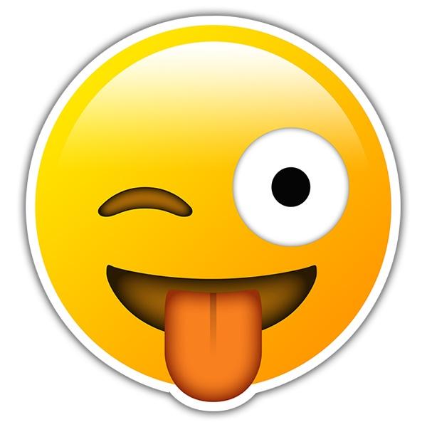 Autocollant Visage Clin D Oeil Et De La Langue Emoji