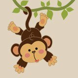 Stickers pour enfants: Singe pendaison sur la vigne 3