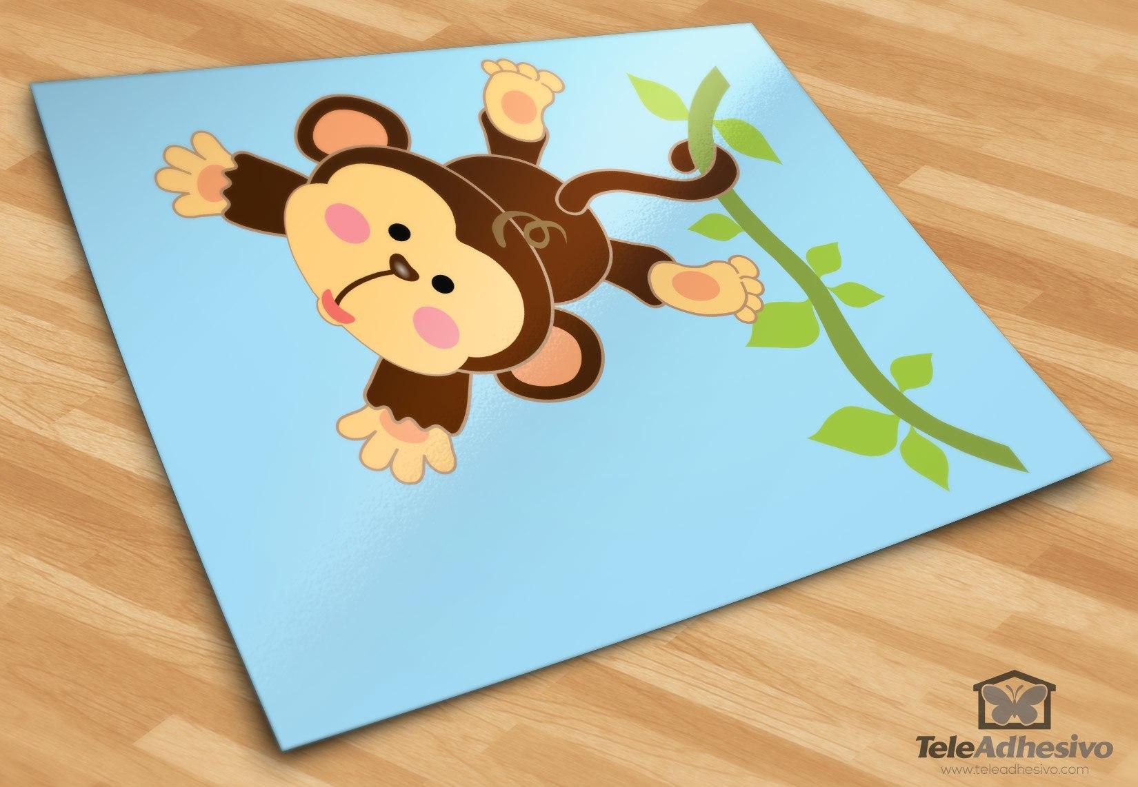 Stickers pour enfants: Singe pendaison sur la vigne