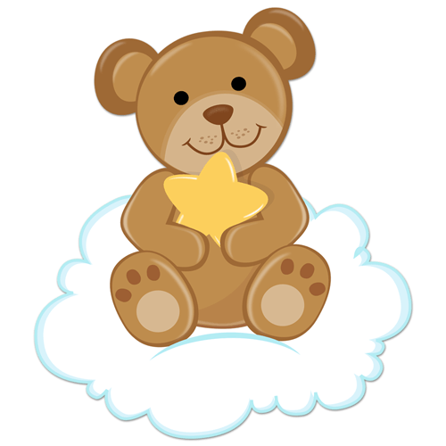 Stickers pour enfants: Ours avec étoiles assis sur le nuage