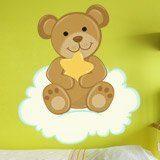 Stickers pour enfants: Ours avec étoiles assis sur le nuage 3