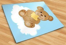 Stickers pour enfants: Ours avec étoiles assis sur le nuage 5