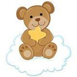 Stickers pour enfants: Ours avec étoiles assis sur le nuage 6