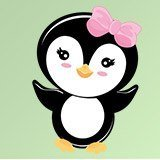 Stickers pour enfants: Penguin arc rose 3