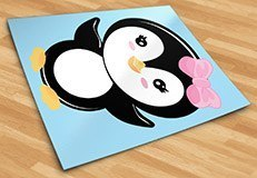 Stickers pour enfants: Penguin arc rose 5