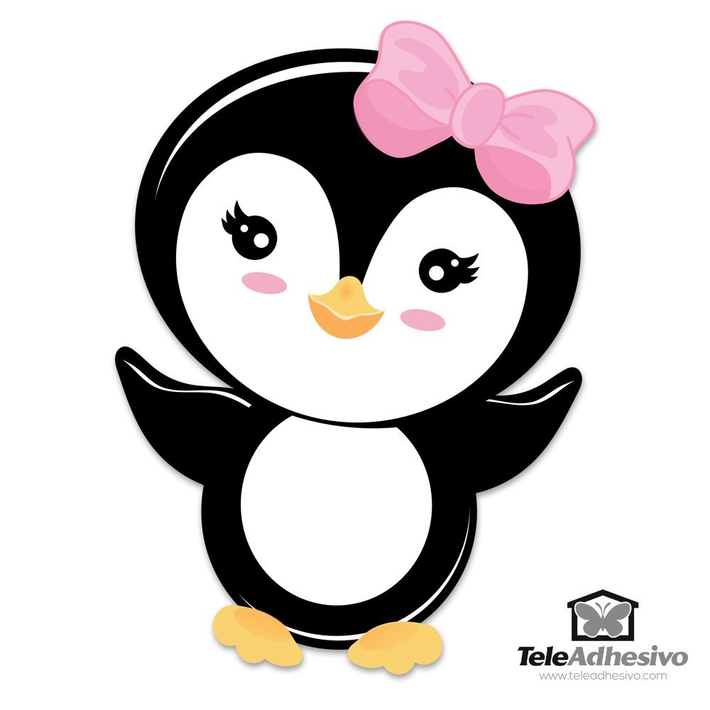 Stickers pour enfants: Penguin arc rose