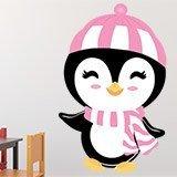 Stickers pour enfants: Penguin chapeau de plage 3