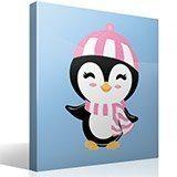 Stickers pour enfants: Penguin chapeau de plage 4