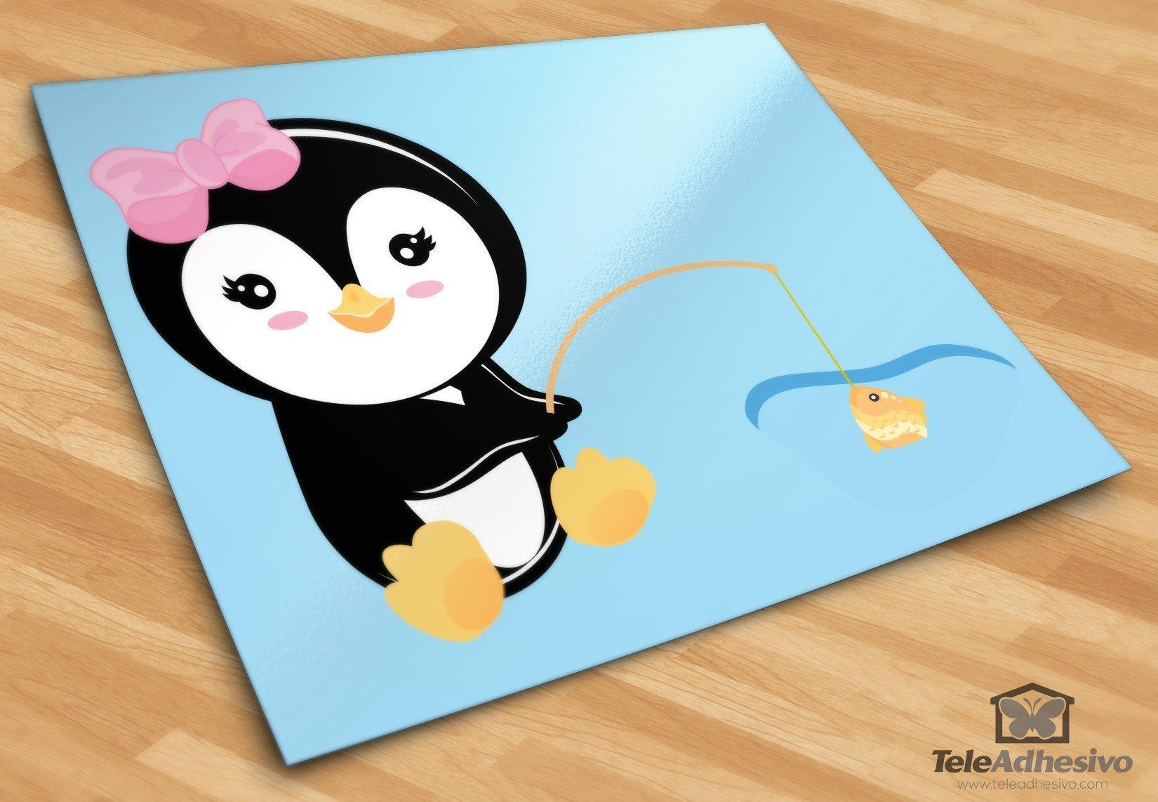 Stickers pour enfants: Penguin pêche