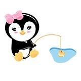 Stickers pour enfants: Penguin pêche 6