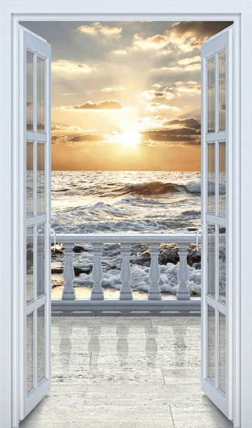 Porte au balcon sur la plage for Plage stickers muraux