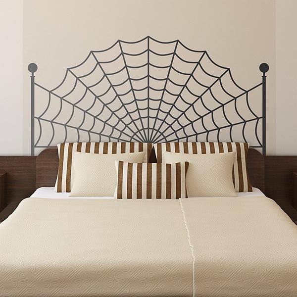 sticker mural t te de lit toile d 39 araign e. Black Bedroom Furniture Sets. Home Design Ideas