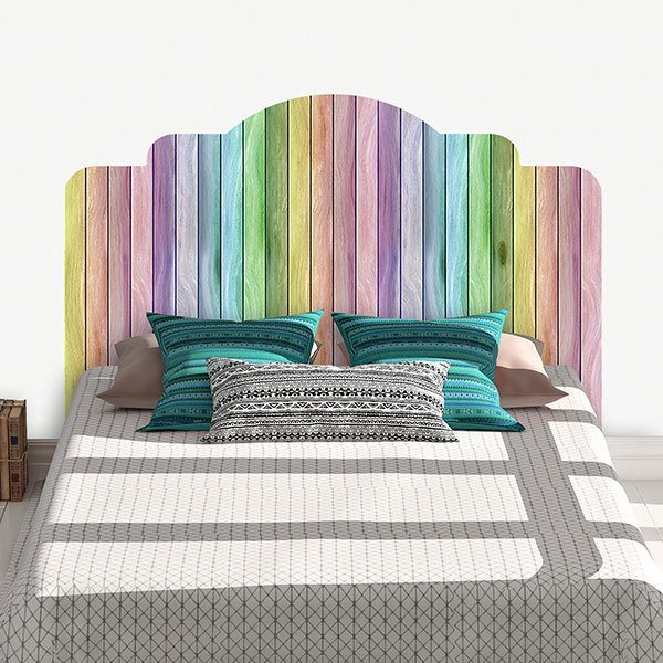 sticker mural t te de lit arc en ciel. Black Bedroom Furniture Sets. Home Design Ideas