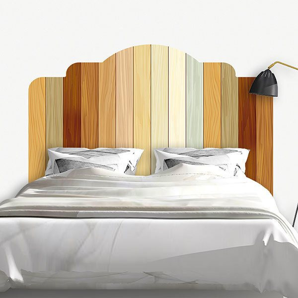 sticker mural t te de lit planches en bois. Black Bedroom Furniture Sets. Home Design Ideas