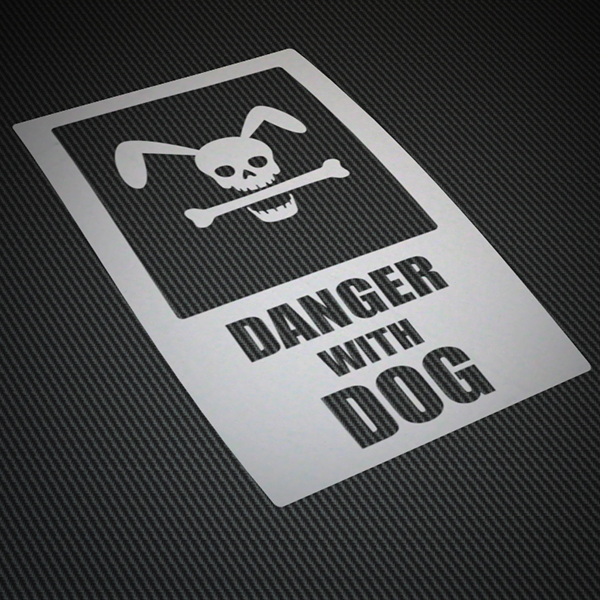 Autocollants: Danger with dog (attention au chien)