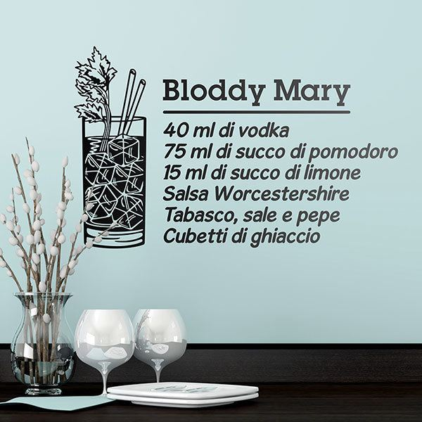 Stickers muraux: Cocktail Bloddy Mary - italien.