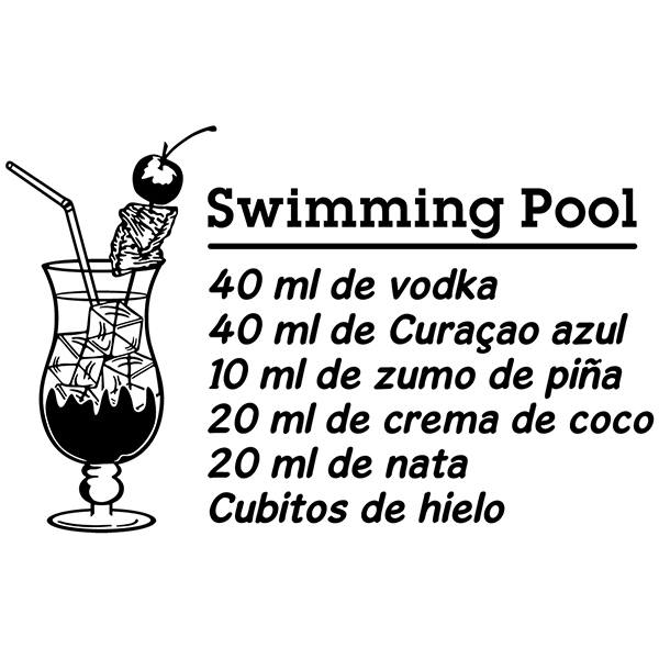 Stickers muraux: Cocktail Swimming Pool - espagnol