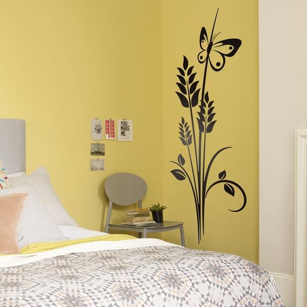 sticker mural floral pis de bl. Black Bedroom Furniture Sets. Home Design Ideas