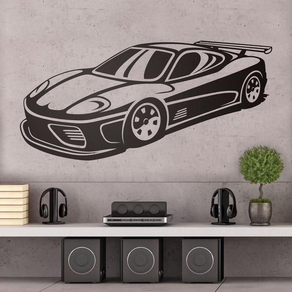 sticker mural voiture de sport. Black Bedroom Furniture Sets. Home Design Ideas
