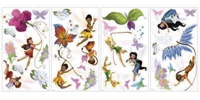 Stickers pour enfants: Stickers muraux Disney Fairies avec des paillettes 3