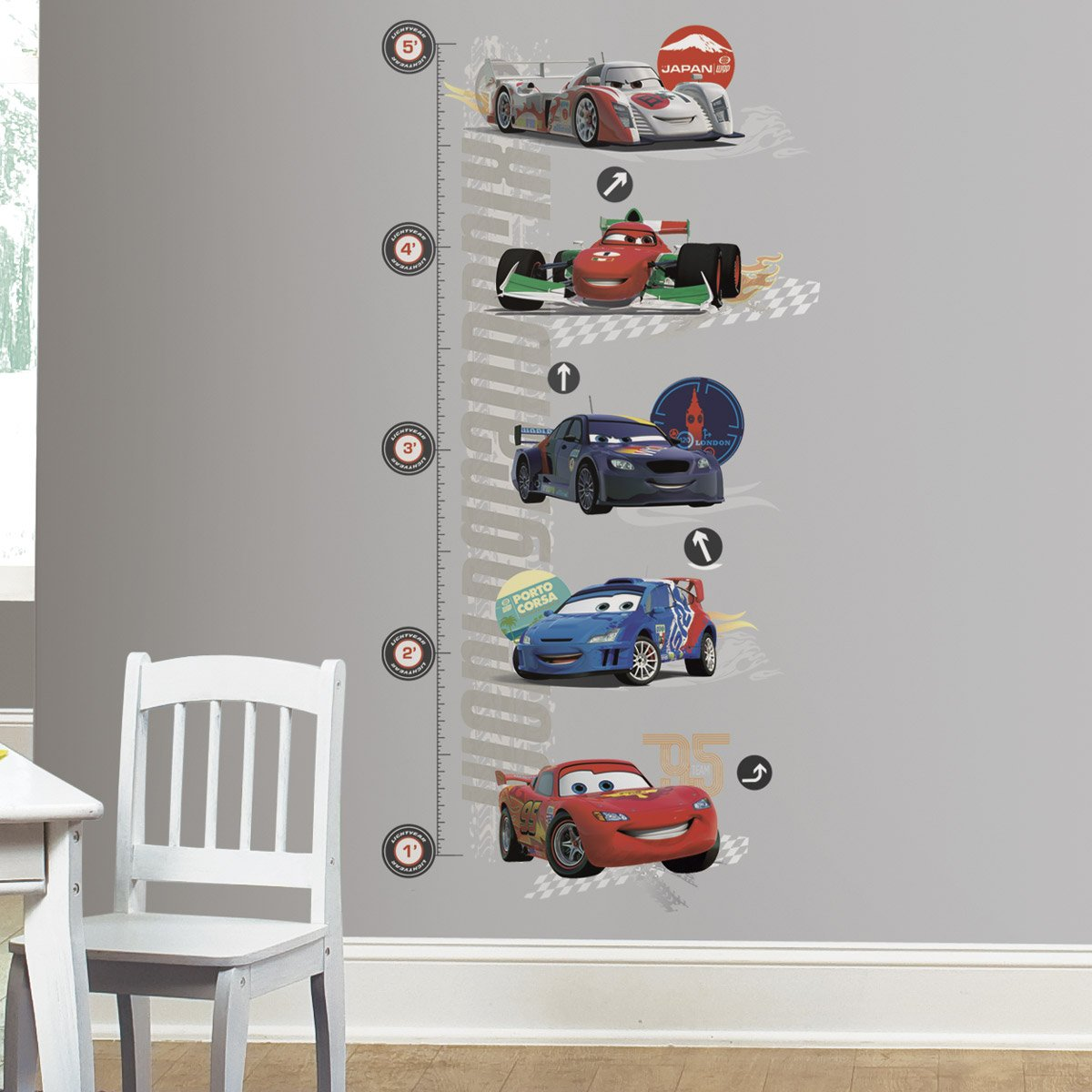sticker toise lightning mcqueen cars 2. Black Bedroom Furniture Sets. Home Design Ideas