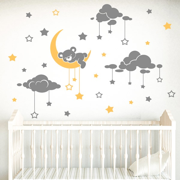 Stickers muraux enfants de le soleil et des nuages ...