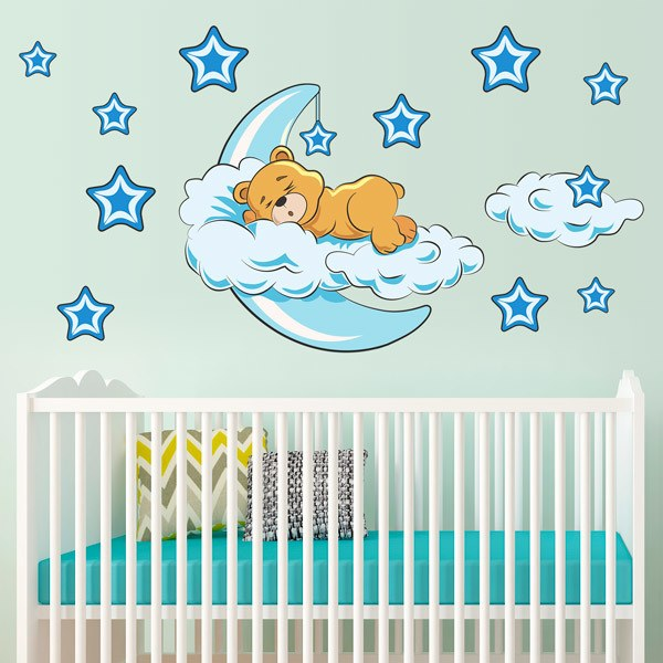 sticker mural enfant ours dans les nuages et la lune bleue. Black Bedroom Furniture Sets. Home Design Ideas