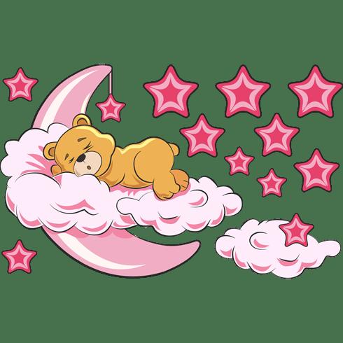 Stickers pour enfants: Ours dans les nuages et la lune rose