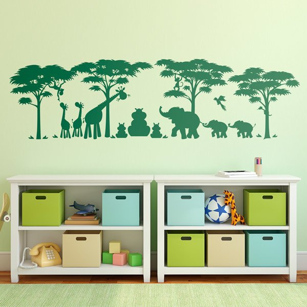 Stickers pour enfants: Scene Jungle Animals