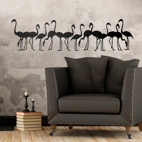 Stickers muraux: Troupeau de flamants roses