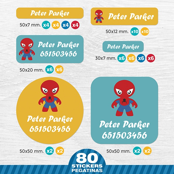 Autocollants: Kit Étiquettes Spiderman