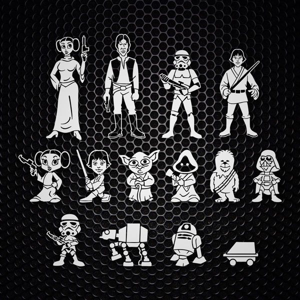 Autocollants: Kit 14X Les Personnages de Star Wars