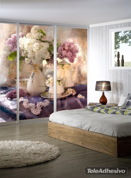papier peint vinyle nature morte floral. Black Bedroom Furniture Sets. Home Design Ideas