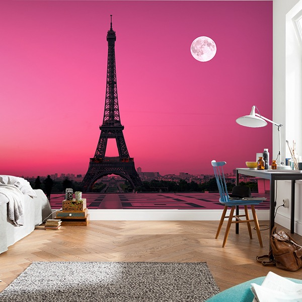 poster xxl tour eiffel avec ciel magenta. Black Bedroom Furniture Sets. Home Design Ideas
