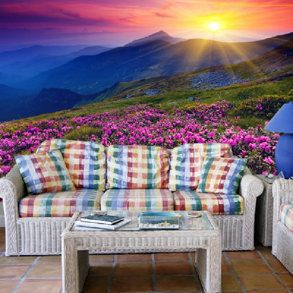 Poster xxl: Pink Flowers  Mountain