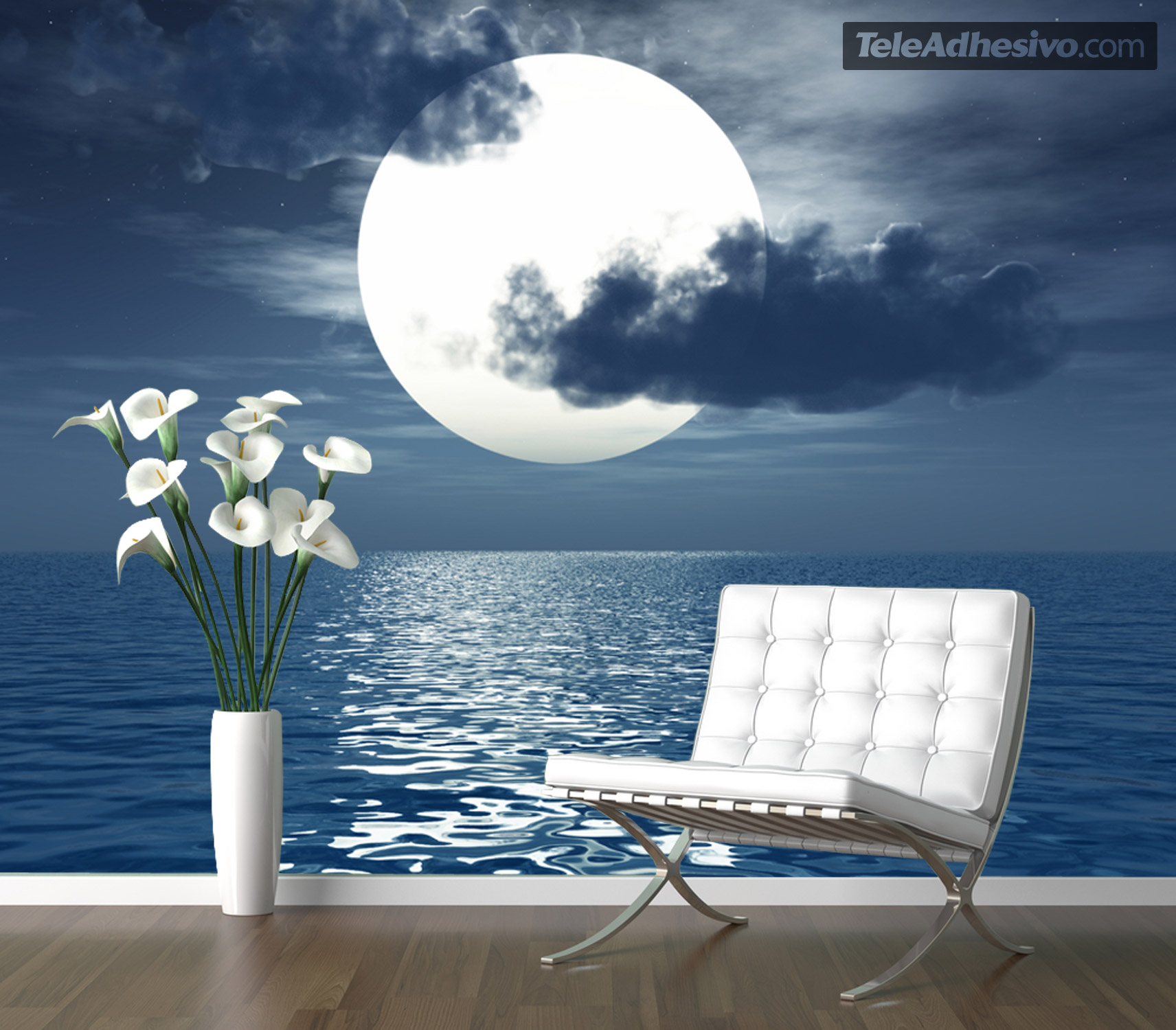 poster xxl lune sur la mer. Black Bedroom Furniture Sets. Home Design Ideas
