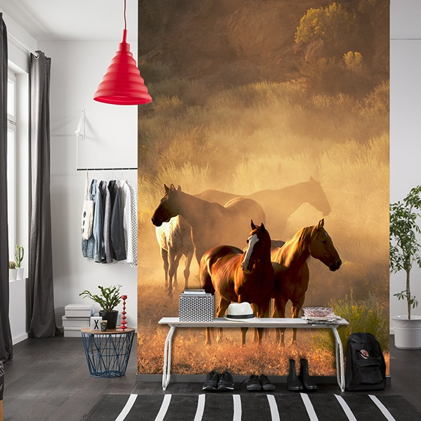 poster xxl des troupeaux de chevaux. Black Bedroom Furniture Sets. Home Design Ideas