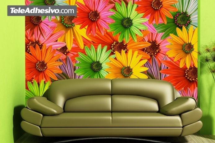 poster xxl fleurs pop. Black Bedroom Furniture Sets. Home Design Ideas