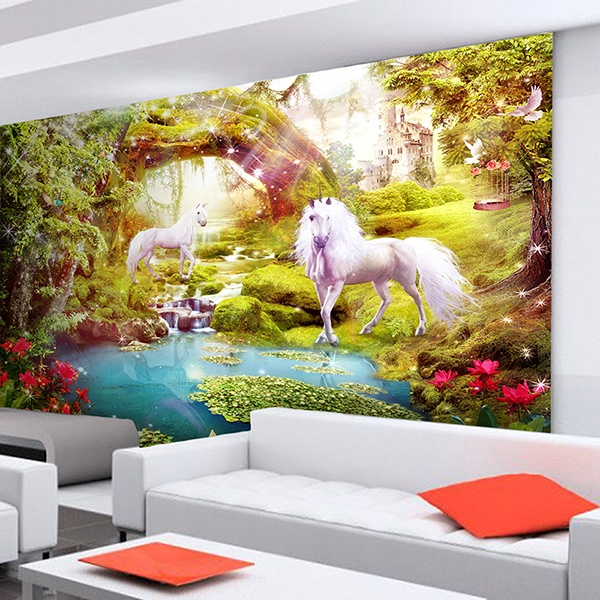 papier peint vinyle chevaux dans le jardin fantastique. Black Bedroom Furniture Sets. Home Design Ideas