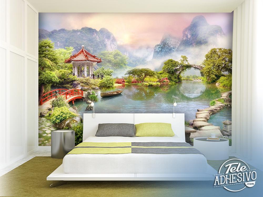Papier peint vinyle lac oriental - Papier peint orientale ...