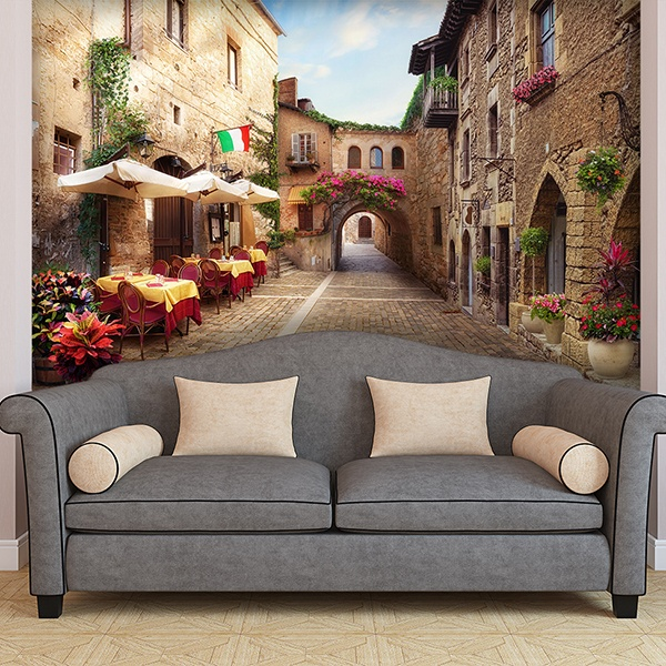 papier peint vinyle village italien. Black Bedroom Furniture Sets. Home Design Ideas