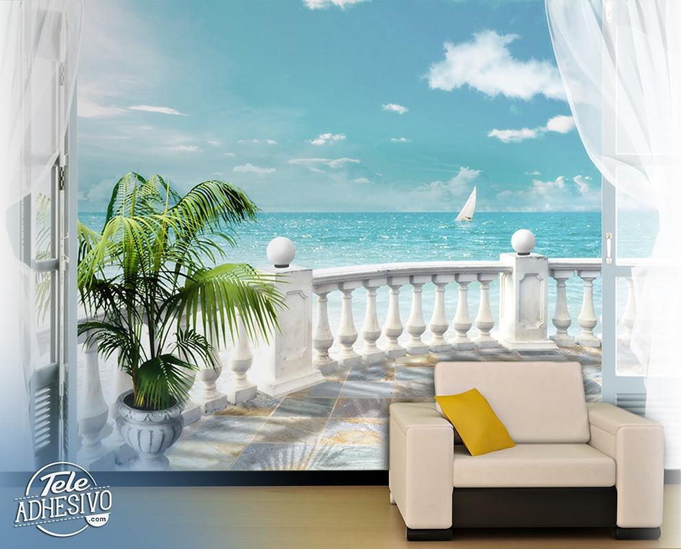 poster xxl terrasse la mer. Black Bedroom Furniture Sets. Home Design Ideas