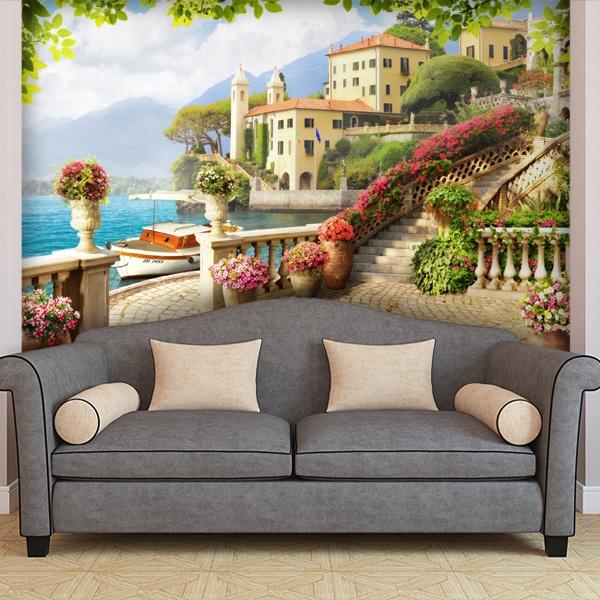 papeir peint vinyle terrasse sur la mer. Black Bedroom Furniture Sets. Home Design Ideas