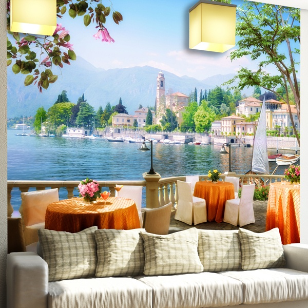 poster xxl terrasse avec vue sur un lac. Black Bedroom Furniture Sets. Home Design Ideas