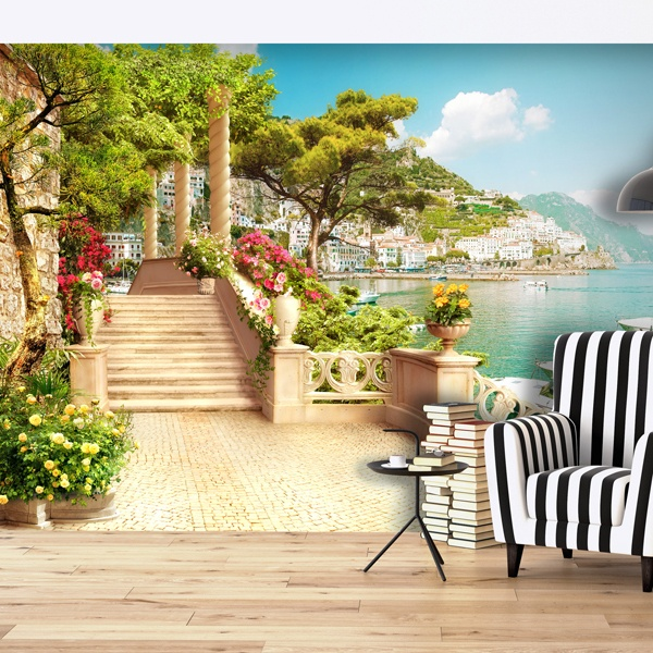 poster xxl village de bord de mer. Black Bedroom Furniture Sets. Home Design Ideas