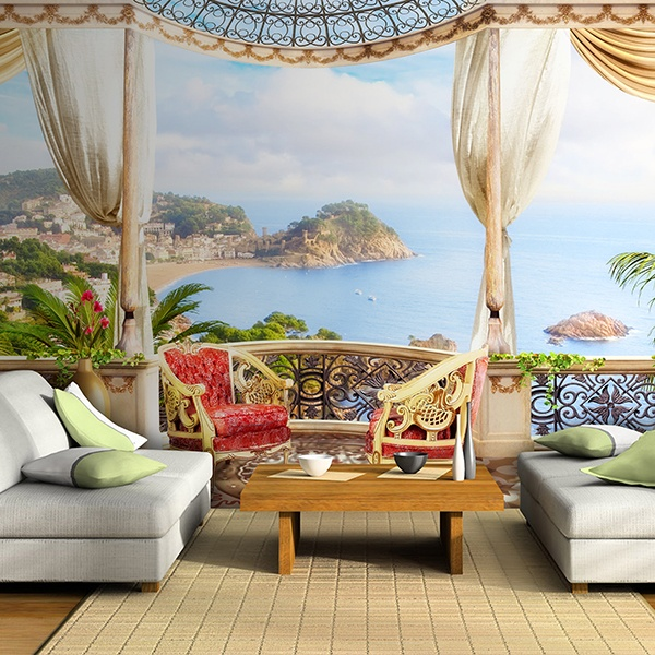 papier peint vinyle terrasse vue sur la mer de luxe. Black Bedroom Furniture Sets. Home Design Ideas