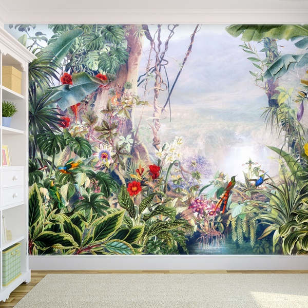 papier peint vinyle for t tropicale. Black Bedroom Furniture Sets. Home Design Ideas